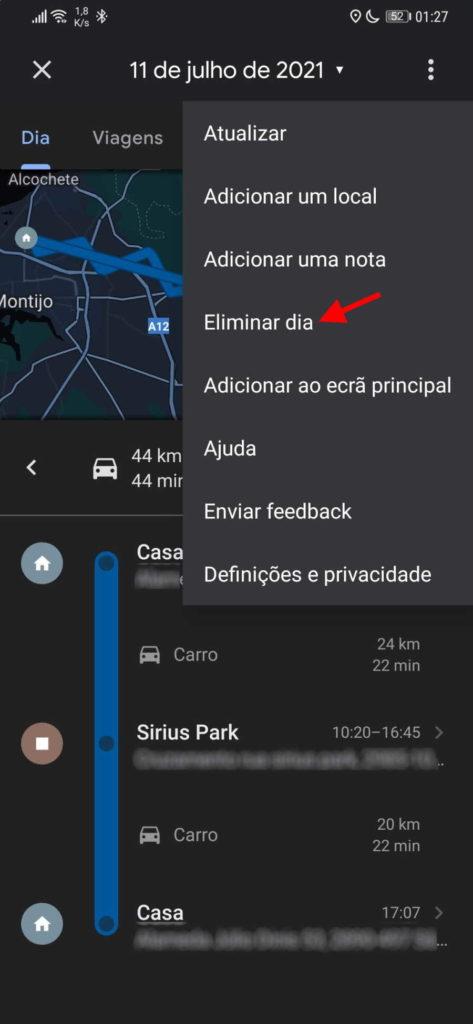 Jour chronologique d'effacement de Google Maps