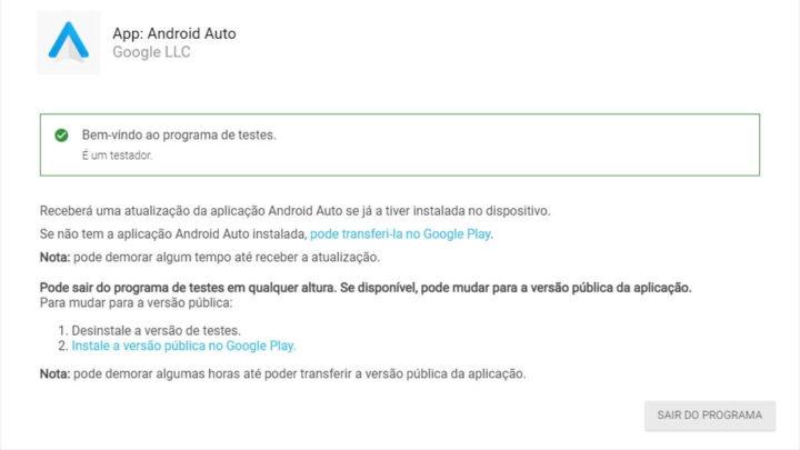 Programme bêta Android Auto Google