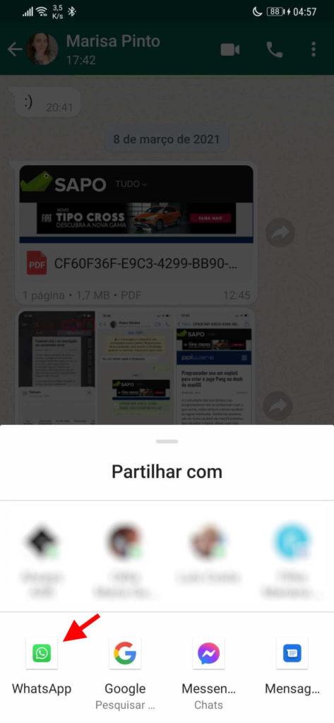 L'image WhatsApp a renvoyé le message de la marque