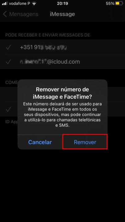 Supprimer le numéro iMessage et Facetime