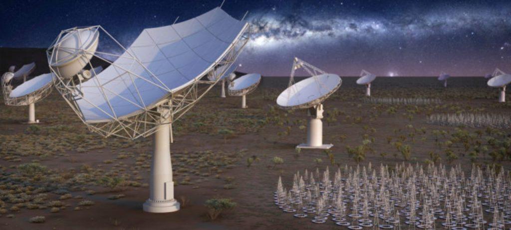 L'illustration montre l'aspect du plus grand radiotélescope du monde lorsque sa construction est terminée.