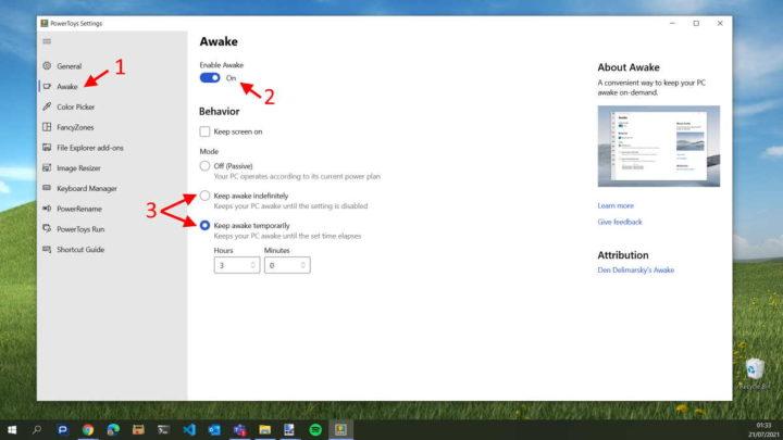Powertoys PC Awakened Microsoft Awake