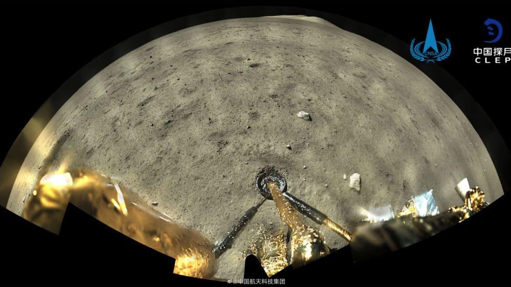 """L'image montre une photo du site d'atterrissage de la mission Chang'e 5 en Chine.  Le point sur la lune s'appelait """"Gare de Tianchuan"""""""