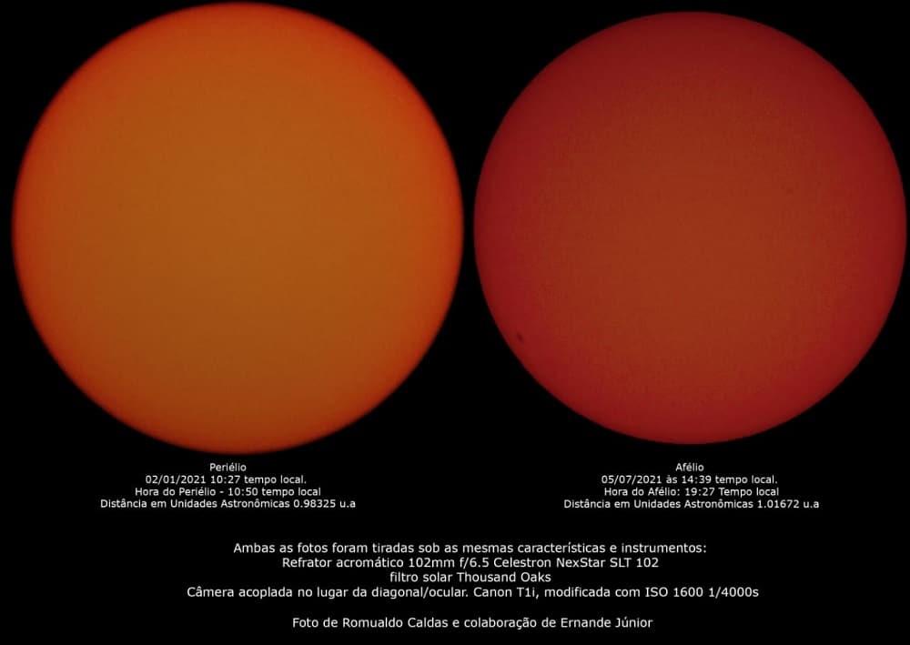 Photos comparatives.  Un fait aujourd'hui, un autre en janvier, pendant le périhélie