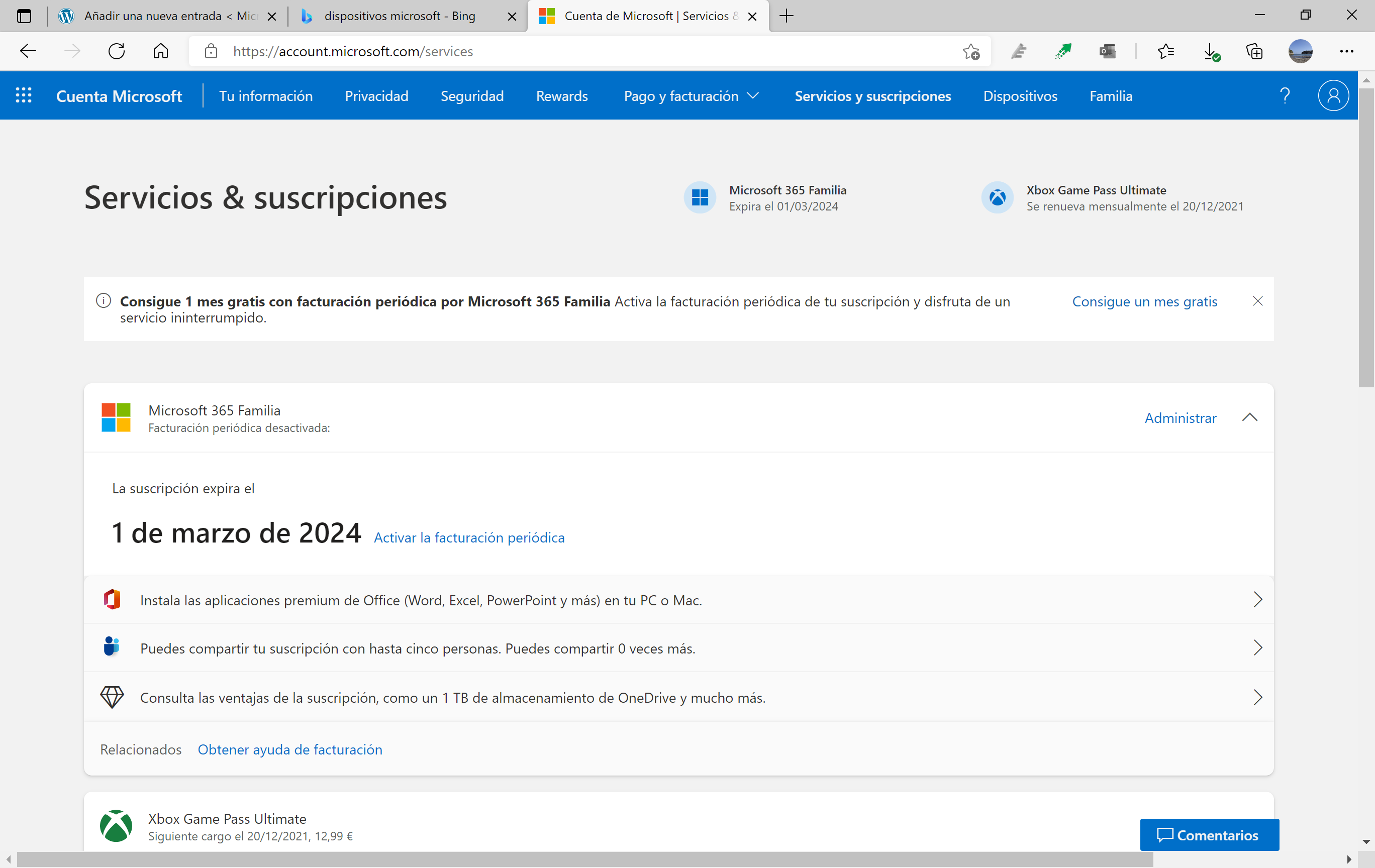 Subscriptions in Microsoft account with Windows 11 style