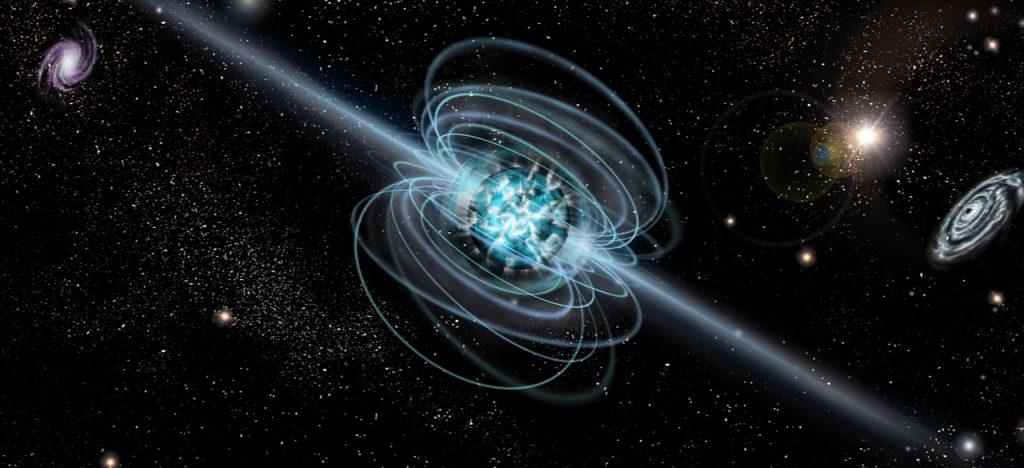 L'image montre la représentation artistique d'un magnétar, supposé point d'origine des signaux radio émis depuis la Voie lactée