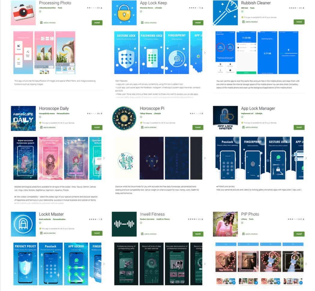 Neuf applications avec 58 millions de telechargements supprimees du Google