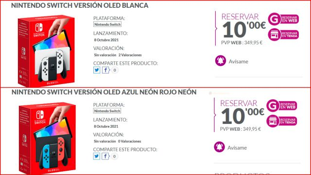 Campagne de réservation OLED Nintendo Switch JEU Espagne Amazon FNAC