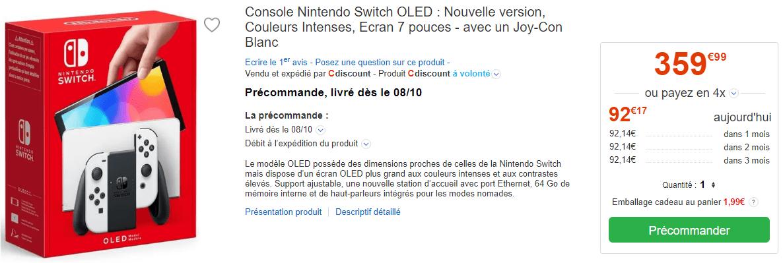 Nintendo Switch Oled Pre Commande Dispo Stock Cdiscount Blanc