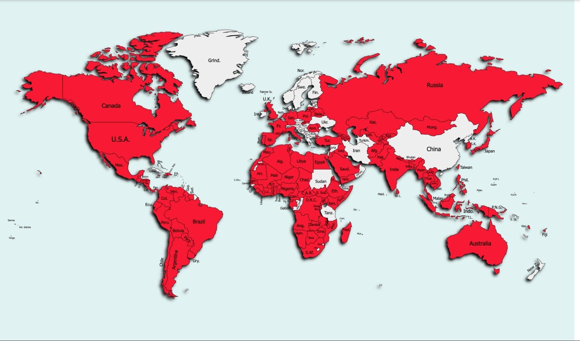 Carte des pays touchés par FlyTrap.