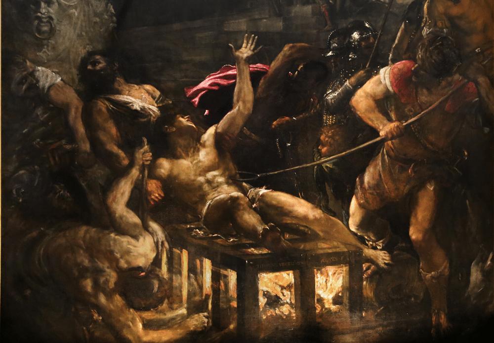 Une partie du tableau El martírio de San Lourenzo de Tiziano Vecellio
