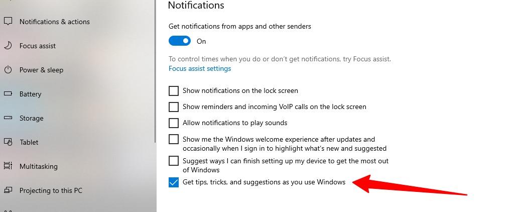 Capture d'écran des trucs et astuces de désactivation dans Windows 10