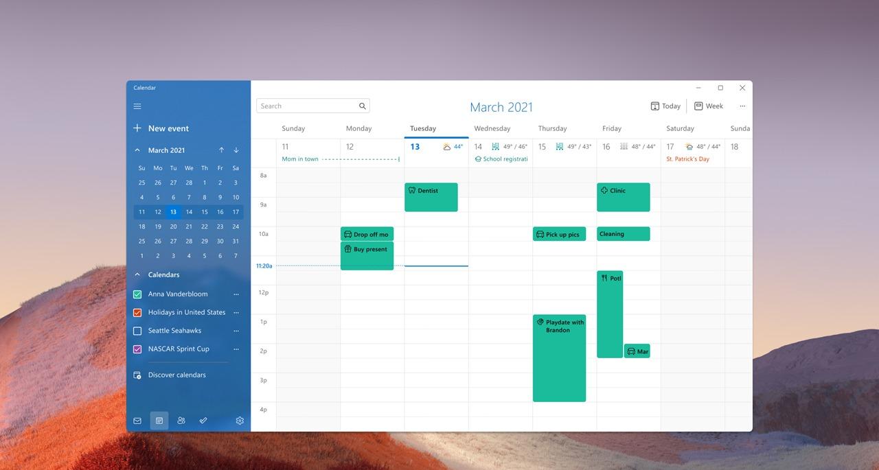 La nouvelle application Calendrier dans Windows 11