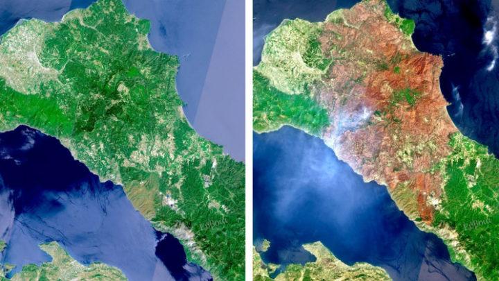 1629039787 727 Grece des satellites montrent les ravages causes par les
