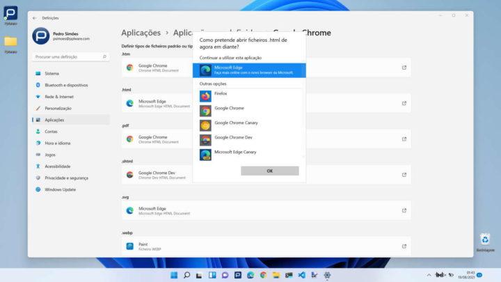 Modification du navigateur Microsoft Windows Edge