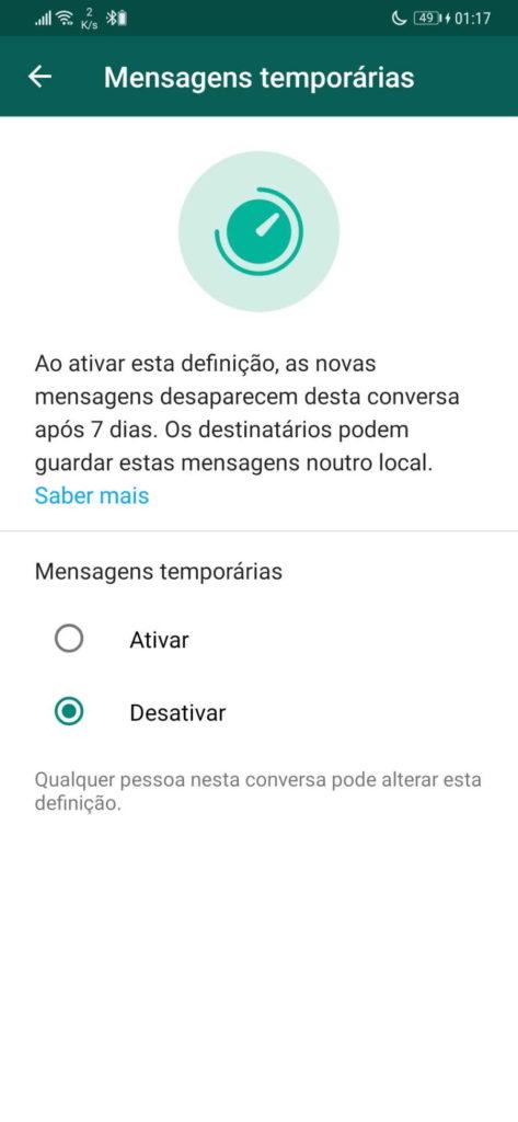 Nouveautés de sécurité des messages temporaires WhatsApp