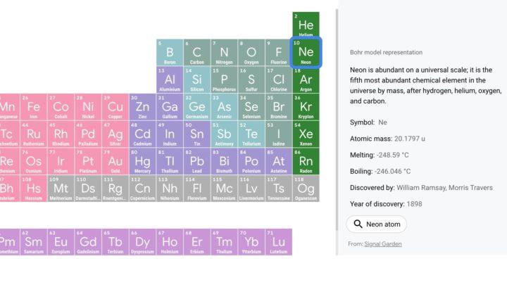 Google lance un tableau périodique 3D interactif pour enseigner la chimie