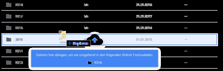 Le glisser-déposer facilite au moins un peu le déplacement des données du bureau via le navigateur.  (Capture d'écran)