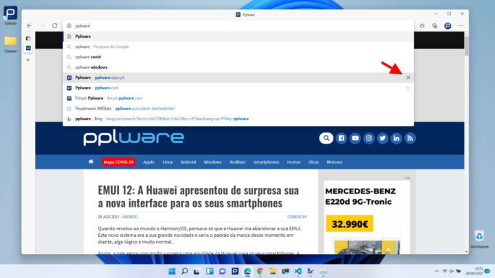 suggestions pages chrome bord firefox