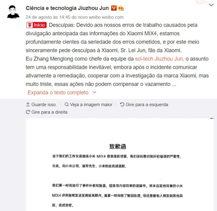 Blogger sexcuse davoir divulgue Xiaomi Mi MIX 4 avant sa