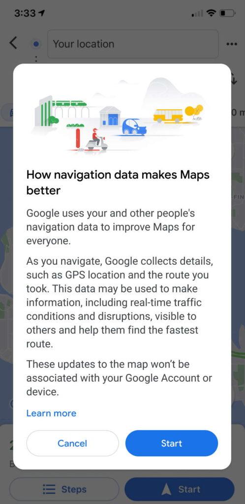 Notification de partage de données Google Maps