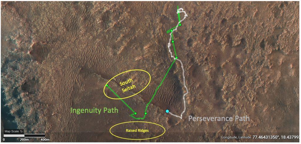 Cette carte montre, en gris, le chemin emprunté par le rover Persévérance sur Mars.  En vert, le chemin qu'Ingenuity a déjà survolé.  Image: NASA/JPL