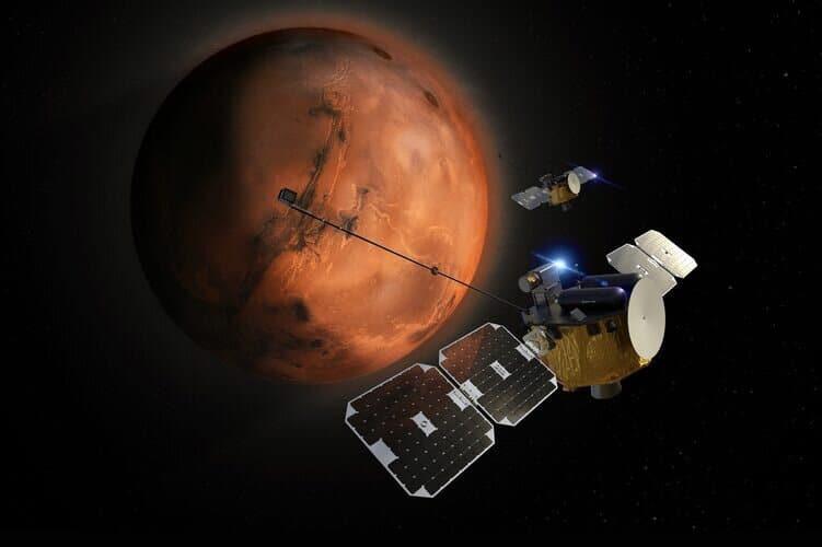 Bleu et or, montré dans l'illustration : la NASA enverra les deux satellites pour observer l'atmosphère de Mars en 2024