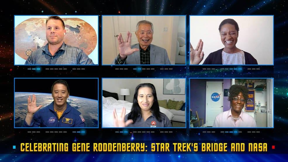 Les participants à l'émission spéciale Celebrating Gene Roddenberry: Star Trek's Bridge and NASA, qui sera diffusée sur NASA TV.  Image : NASA / Reproduction