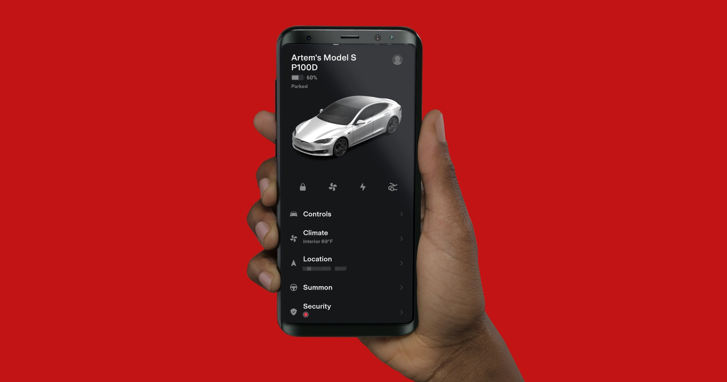 Application Tesla pour Android.