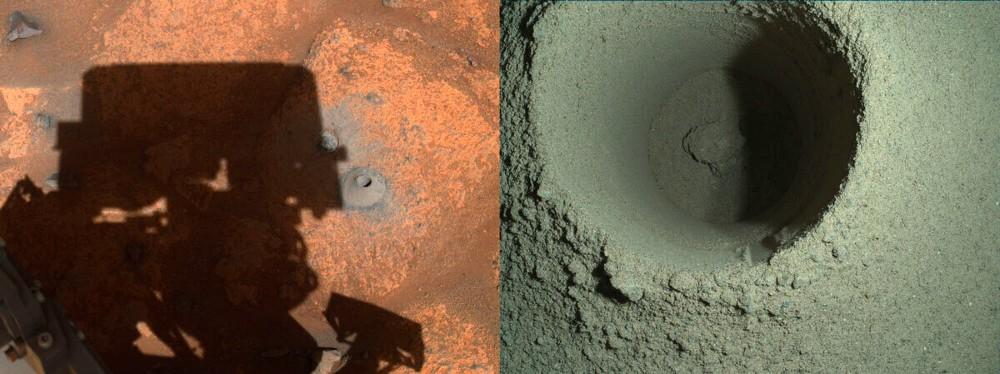 Image prise par le rover Perseverance après avoir échoué à extraire des échantillons de sol de Mars, montrant les trous forés par le véhicule d'exploration de la NASA