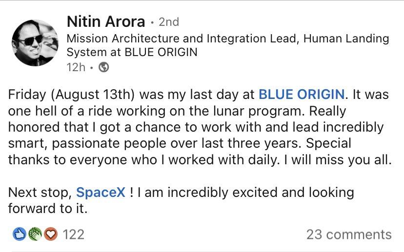 Lingenieur en chef du module lunaire Blue Origin quitte lentreprise