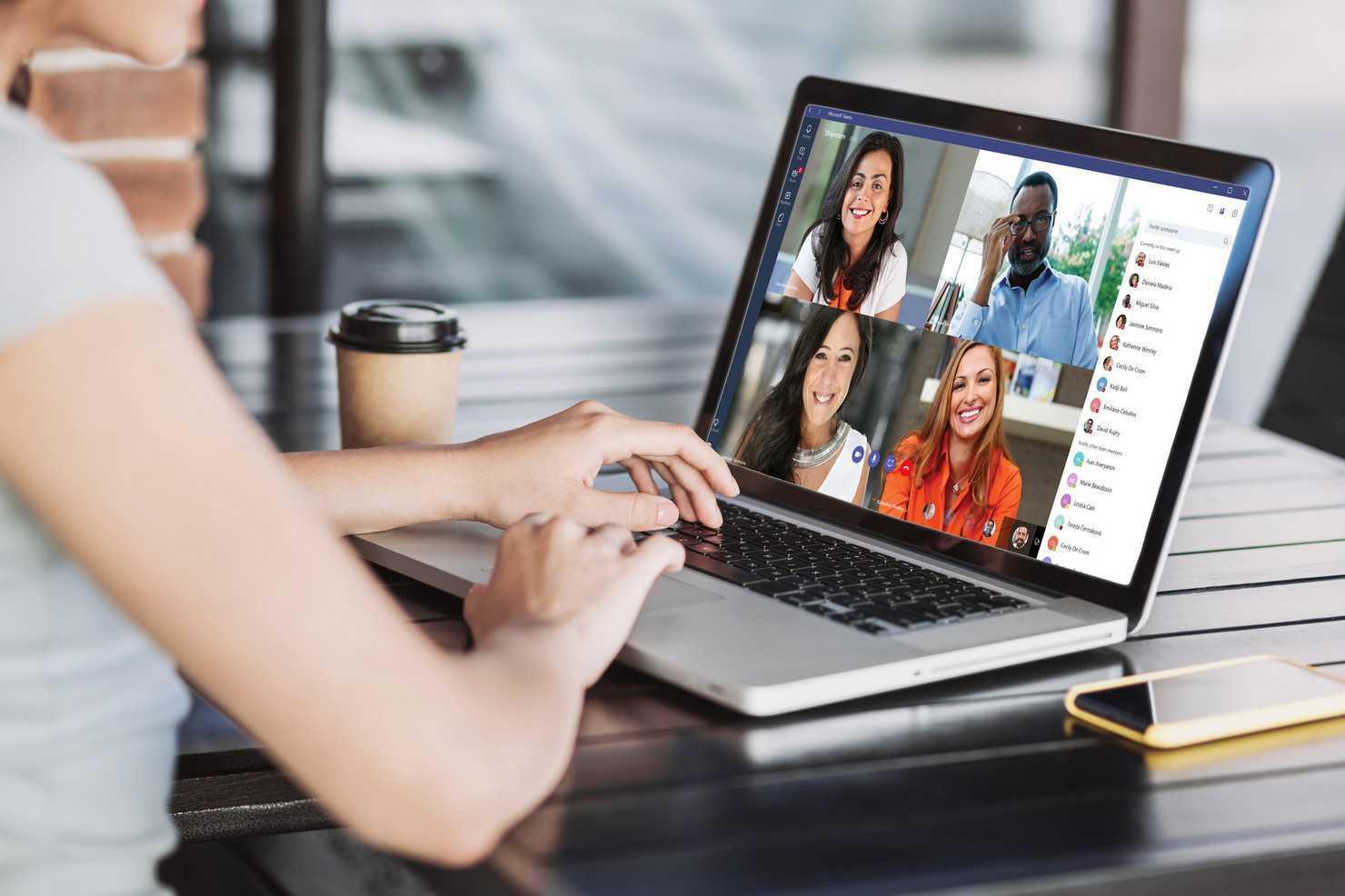 Appel vidéo sur un ordinateur portable avec Microsoft Teams