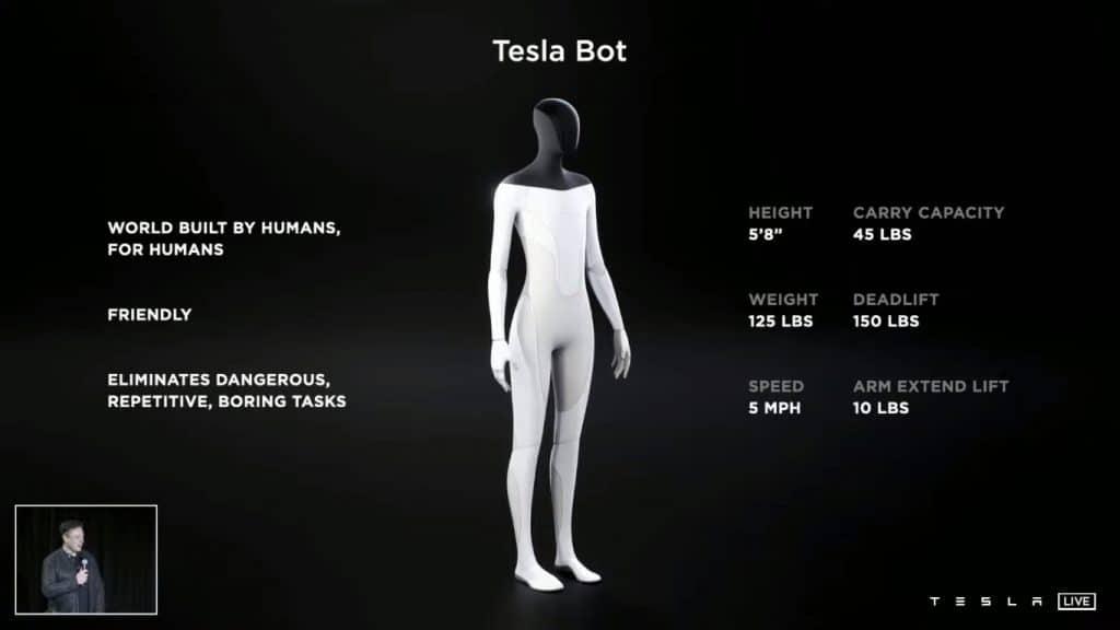 Diapositive de présentation Tesla Bot