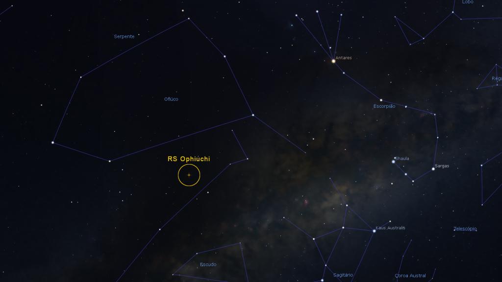 Localisation de la nouvelle (étoile) récurrente RS Ophiuchi dans la Constellation du Serpentarium (Ophiuchus)