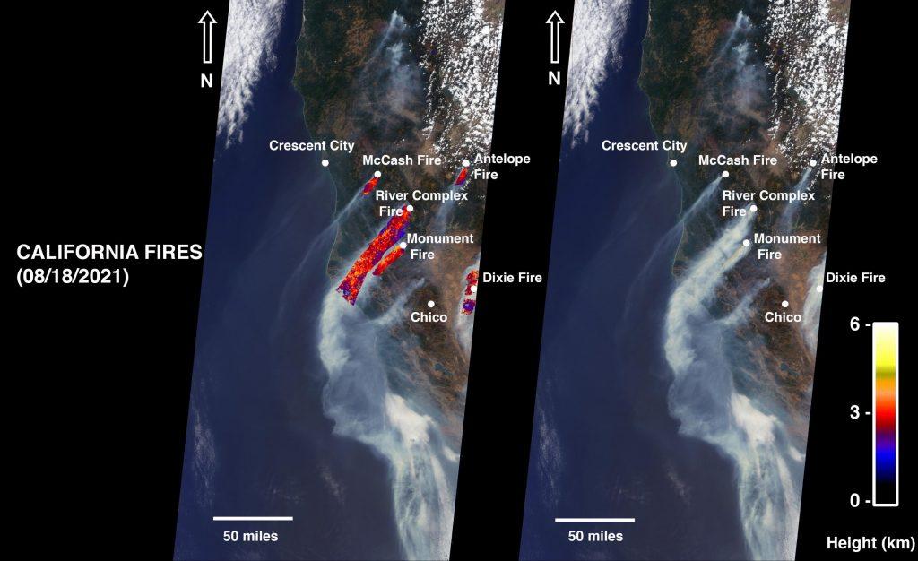 L'image montre une vue de la Terre vue depuis un satellite de la NASA qui a capturé des incendies de forêt en Californie