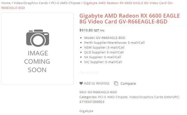 1630833305 694 La carte graphique Radeon RX 6600 EAGLE de Gigabyte apparait
