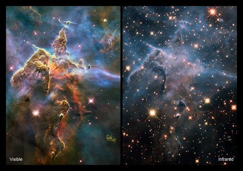 Nébuleuse de la Carine enregistrée par Hubble.  A gauche, dans le spectre visible et à droite, dans l'infrarouge, où l'on peut voir les étoiles se former derrière les nuages de poussière