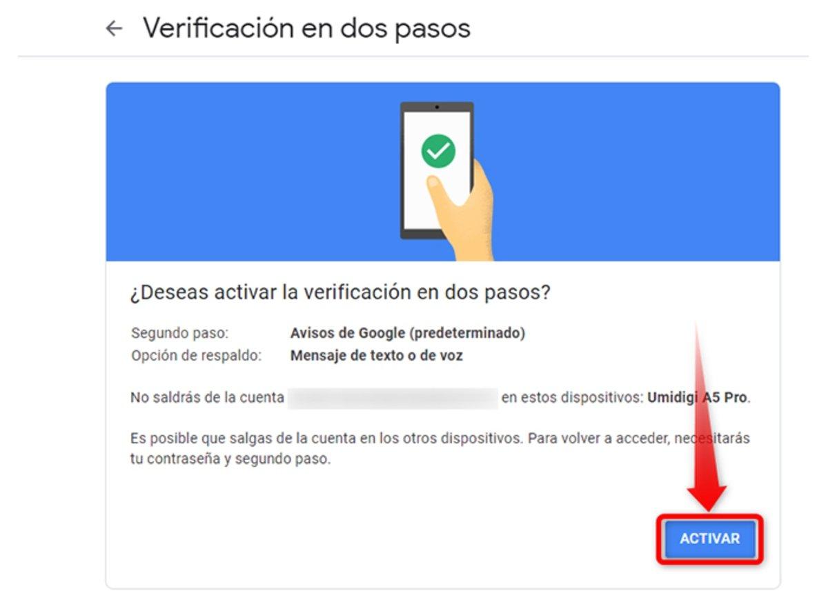 Voici comment commence la vérification en deux étapes du compte Gmail