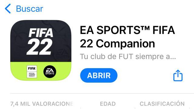 Appli FIFA 22 EA Sports Companion