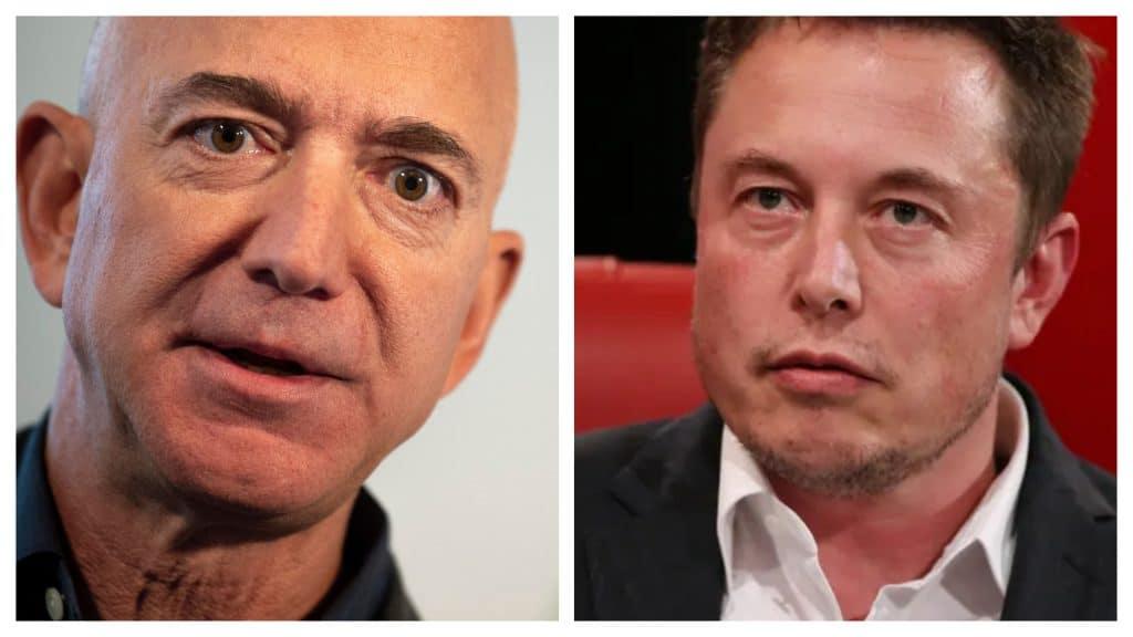 Le montage montre Jeff Bezos et Elon Musk face à face