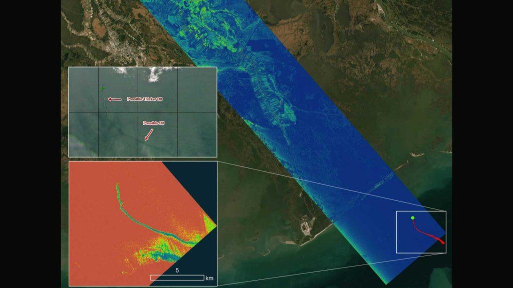 L'image radar montre le Delta-X, un projet de la NASA, surveillant la région côtière dévastée par l'ouragan Ida