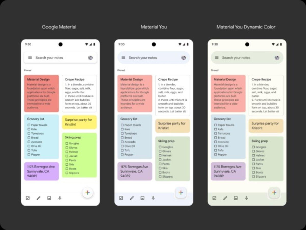 Google Keep avec la nouvelle interface Material You