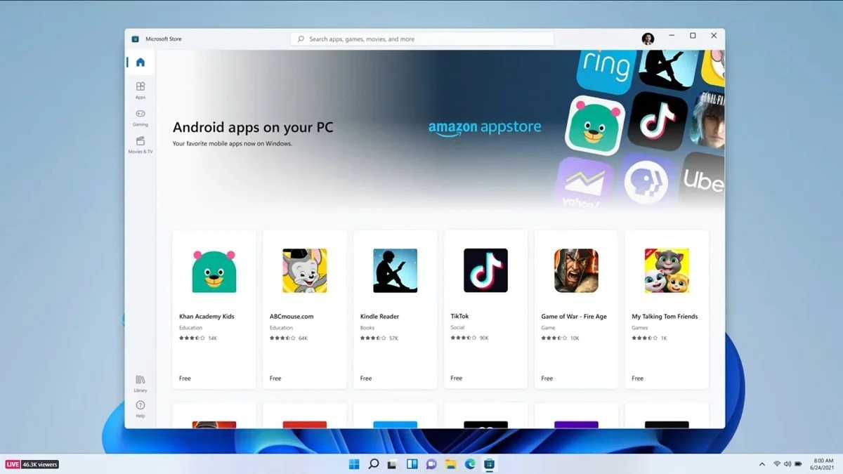Application Android Windows 11
