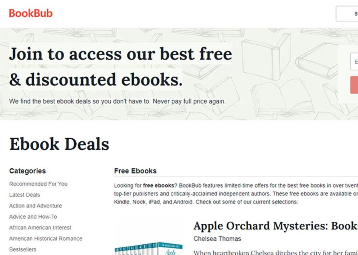 BookBub : variété de livres à télécharger par catégories