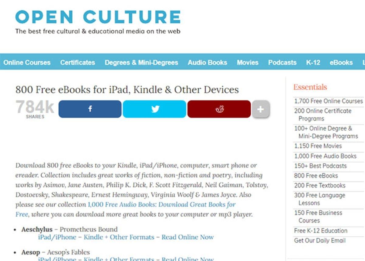Culture ouverte : 800 livres gratuits à lire