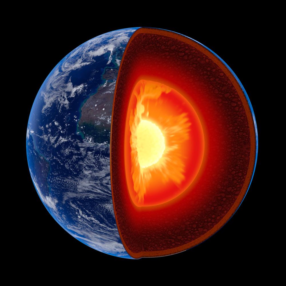 Illustration symbolisant le noyau de la Terre, dont l'étude indique qu'il est à la fois dur et mou